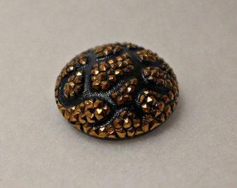Czech glass button - black, gold - 23mm
