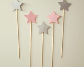 5 Silver&BabyPink Star Cake Toppers