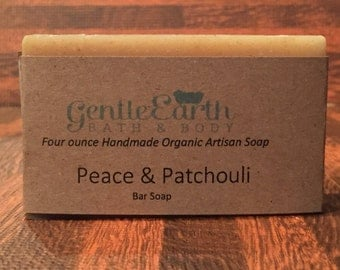 Peace & Patchouli Certified Organic All Natural Soap, Handmade Soap, Cold Process Soap, Vegan Soap,