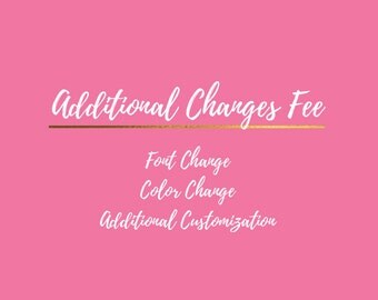 ADD ON  Font Change Fee Color Change Additional Customization Additional Changes