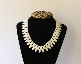 Vintage White Glass Double Row Neclace