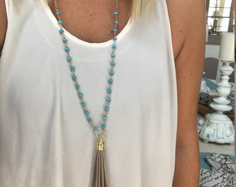 Long Turquoise Rosary Necklace with Tan Tassel