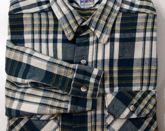 Five Brothers L 16.5 flannel shirt plaid button down front green yellow l/s