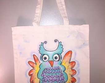 Owl. Natural canvas tote bag. Personalization Avail.