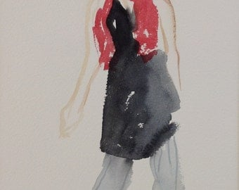 giclee reproduction of original watercolour of girl with red scarf