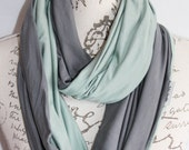 Infinity Scarf with Hidden Pocket/ Sage and Grey / Travel scarf / Phone Pocket Scarf, Passport Scarf / Mother's Day Gift