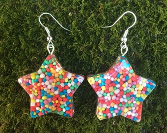 Candy Star Earrings Hundreds and Thousands hanging resin handmade rainbow jewelry jewellery cute happy yummy sweets lolly