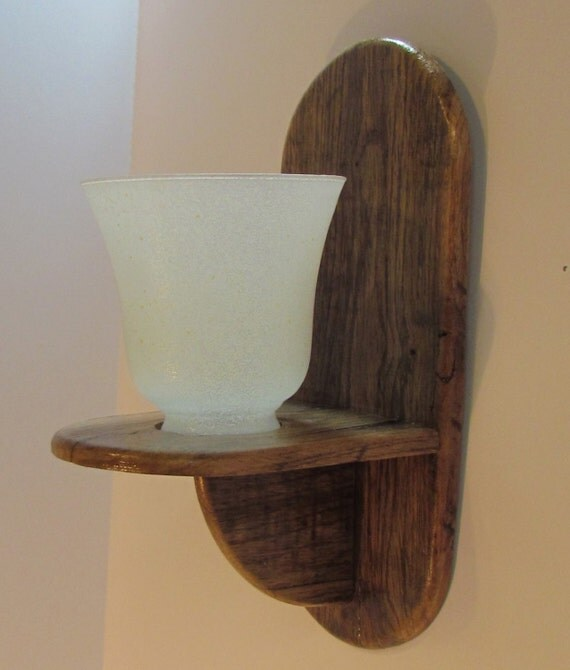 Wall sconce with white globe candle holder by OnParCraftCreations
