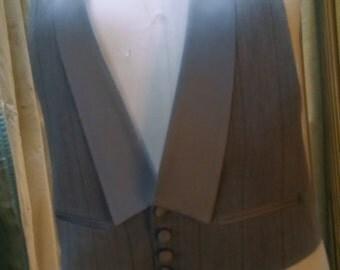 Grey pinstripe tuxedo vest front