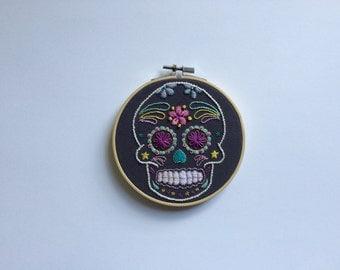 Embroidery Art 'Mexican Sugar Skull' Horatio 5 Inch Hoop