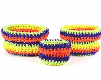 Set de trois paniers gigognes faits au crochet Bisofa - Multicolore - Paniers en corde synthétique