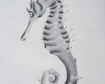 Marker Drawing of Seahorse - Print 5x7