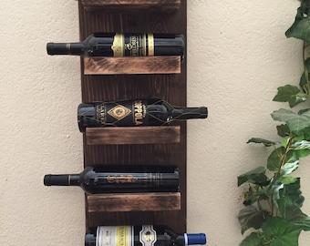 Rustic Wine Rack, 5 Bottle Wine Rack, Wall Mount Wine Rack, Shabby Chic Wine Rack,  Birthday Gift, Wine Lover Gift, Wine Bottle Display