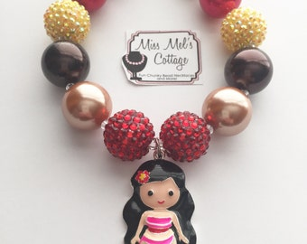 Moana Hawaiian Princess Chunky Bead Necklace