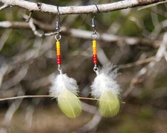 Mini Yellow Feather Earrings