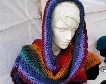Hooded Rainbow Scarf with Pom Pom