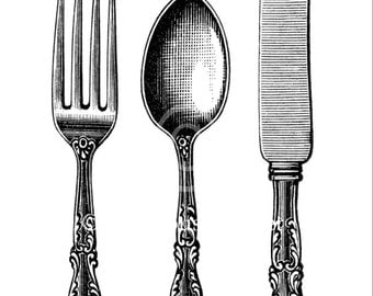 Silverware Wall Art - Fork Spoon Knife