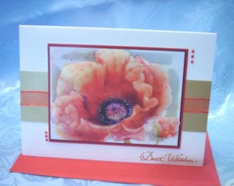 Large Red Poppy and Bud Greetings Card