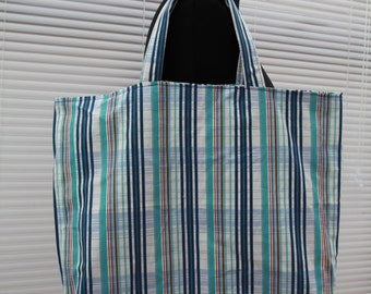 Blue stripe/check lined tote shopper bag