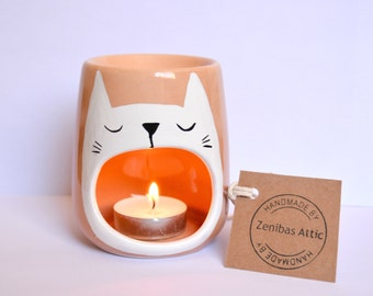 Sleepy Cat Oil Burner - White Cat - Cat Lover - Valentines - Candle Holder - Cat Lady - Tealight - Decor - Fragrance - Ceramic - Anniversary