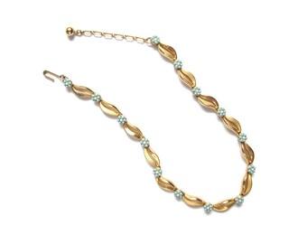 Vintage Trifari Necklace | Vintage Choker | 1960s Necklace | Vintage Necklace | Blue Turquoise Necklace | Flower Necklace | Gold Necklace
