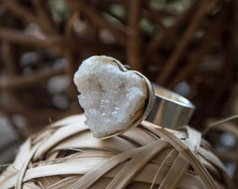 Quartz druzy chunk ring on a .925 sterling silver plated copper ring bezel, all handmade, completely adjustable, modern boho jewelry