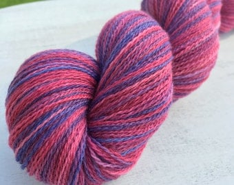 """Hand Dyed Merino Lace Yarn """"Sweet Pea Petunia"""""""