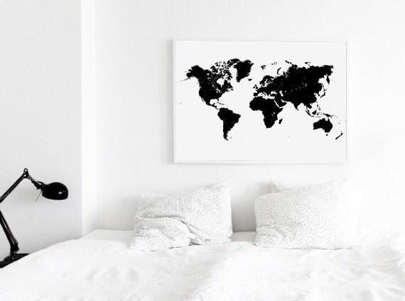 Black world map world map print world map world map wall black world map world map print world map world map wall print world map poster map decor printable map gumiabroncs Choice Image