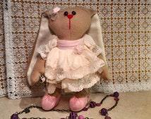 BUNNY TOY  Bunny Tossia  baby girl gift  handmade doll stuffed bunny rabbit Home decor Kids Room Decor  Soft First Doll   Birthday Presents