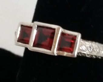 Ring, Garnet Ring with CZ, Sterling Silver Ring