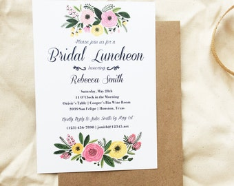 Floral Watercolor Classy Bridal Luncheon Invitation, Printable