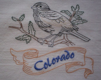 Colorado Lark Bunting Embroidered Flour Sack Towel, Colorado Columbine Embroidered Flour Sack Towel, Colorado Towel