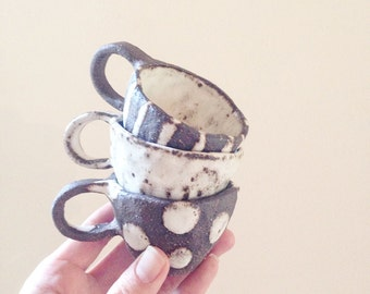 Babychino cups/ Espresso cup/ toddler mug/ pottery/ stoneware/ ceramics/ rustic/ shine style/ baby gift/ spots/ stripes/ plain