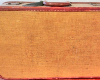 Vintage 1940s Caramel Brown Kaufmann Suitcase/ Luggage with Leather Detail - SHIPPING INCLUDED