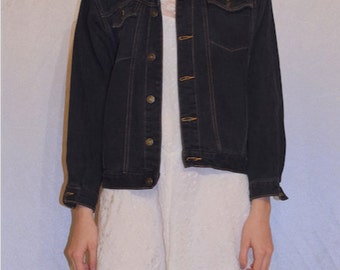 90s Black Denim Jacket