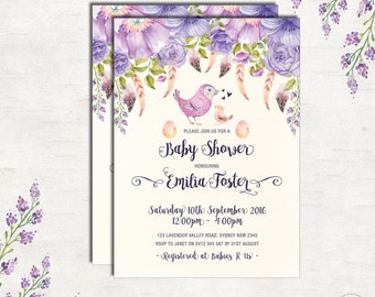 BIRD BABY SHOWER Invitation. Purple Floral Invitation. Lavender Shower. Boho Feathers. Bohemian Baby Invite. Vintage Flowers. BOHO2