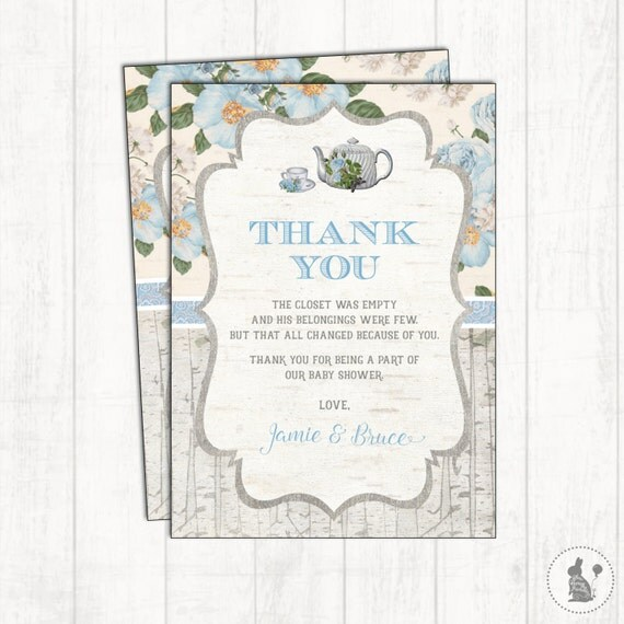 Vintage Baby Shower Thank You Cards: Blue Floral Thank You Card. Vintage Rustic Tea Party Baby