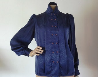 Mystique by Robert Packer Vintage 70s Navy Blue Satin Button Pleated Front High Collar Secretary Office Career Blouse Top SZ 8