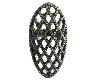 Sterling Silver Pave Full Diamond Ring
