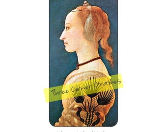 iPhone 6+ printable case design, Portrait of a Lady in Yellow, Baldovinetti); DIY print at home iPhone accessories for 6 Plus, 6S Plus