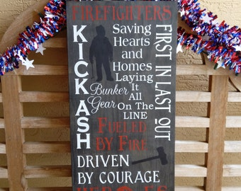 Firefighters Sign Hand painted Heroes Fireman Typography Subway Wall Art Fire Department Firefighter Gift Kick Ash First in last out firemen