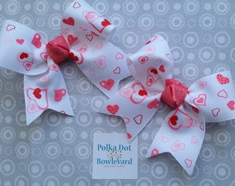 Valentine's Day Hearts Hair Bow Pair