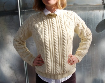 Sale! Vintage Cable Knit Cream Sweater Size Small to Medium Lord & Taylor 70s 80s
