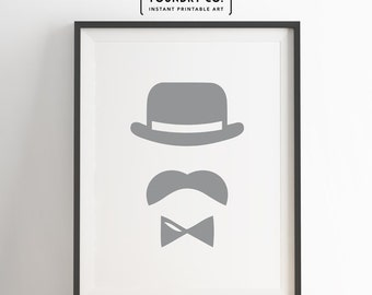 Dapper gentleman - Printable Special Retro Modern Design // Minimalist Wall Art Decor - INSTANT DOWNLOAD Print