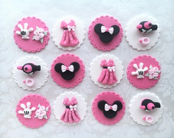 Minnie Edible Cupcake Toppers. Minnie Mouse Birthday Cupcake Toppers. 3D Minnie Fondant Cupcake Toppers. Minnie Tea-party Cupcake Toppers