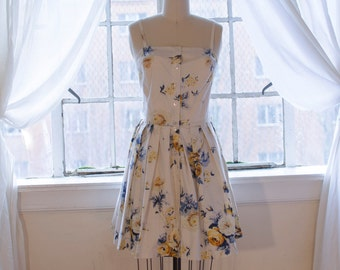 White Dress with Blue and Yellow Floral