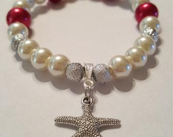 Cranberry Pearl Starfish Bracelet