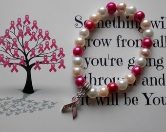 Pink Breast Cancer Survivor Bracelet/Celebratory Gift/Cancer Survivor/Everyday Bracelet/ Cancer Support/25% of proceeds donated to charity