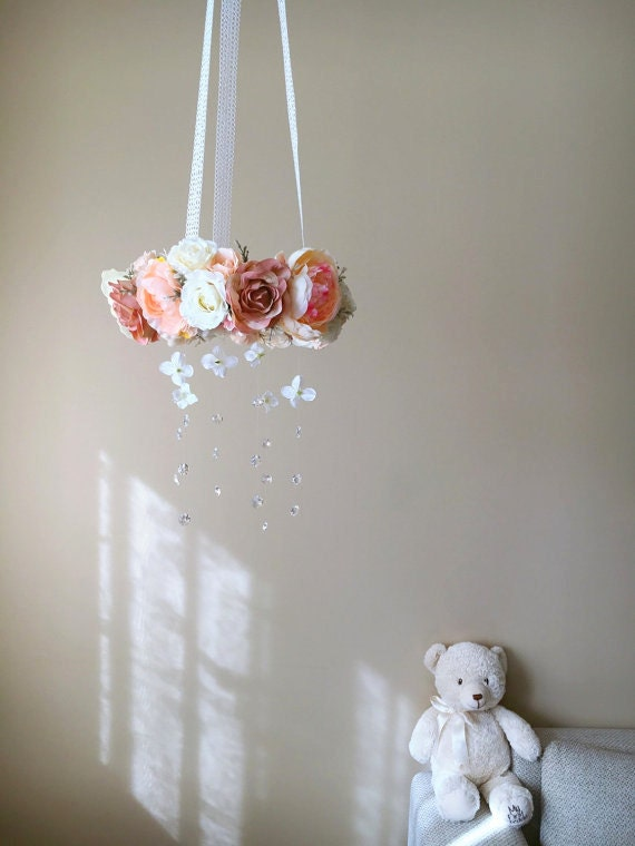 baby mobile floral mobile flower mobile with by paulettastore