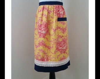 Half apron in mustard and red TOILE with Navy and off-white trim. perfect gift, hostess apron, vintage inspired, half apron, pleated